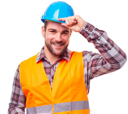 Male construction worker wearing orange vest and blue hard hat