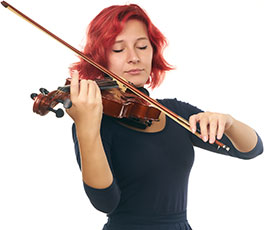 Female performer playing the violin