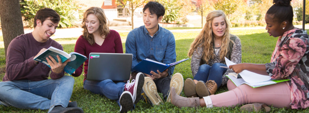 Diverse group of students study together outdoors.
