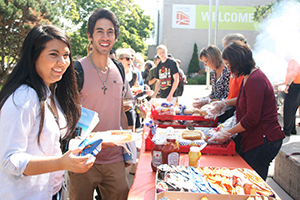 Students at a bbq
