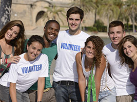 Group of students doing volunteer work