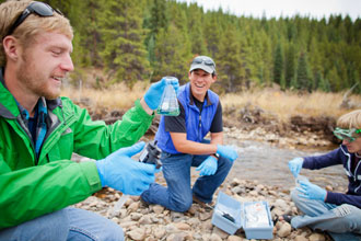 Natural Resource Management students test water samples in the field.