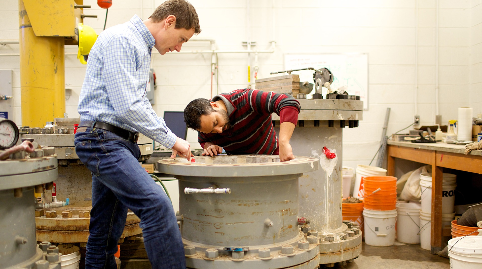 Faculty at work in a Civil Engineering lab